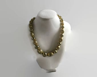 Gold Beaded And Variegated Necklace