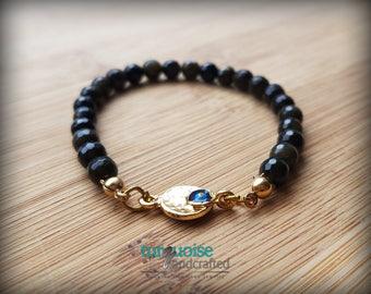 Golden Black Obsidian Bracelet / Protection Amulet / Evil Eye Bracelet / Protection Talisman / Good Energy Vibes / Ethnic Jewelry / Evil Eye