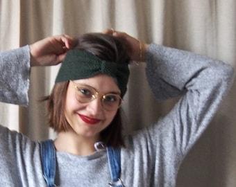 Fine Merino 100% natural for woman or child green tree 10cm wool headband