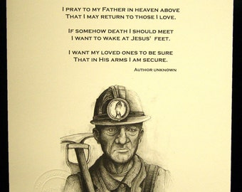 Coal Miner Art By Michael Solovey with the Coal Miners Prayer