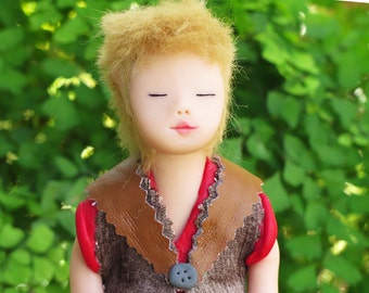 elf doll art. Handmade. Art doll. Elf of fulfillment. Magic. Tiger's Eye. ooak. Fairy. Healing Stones.