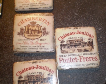 4 Vintage Style French Ceramic Heavy Wine Coasters