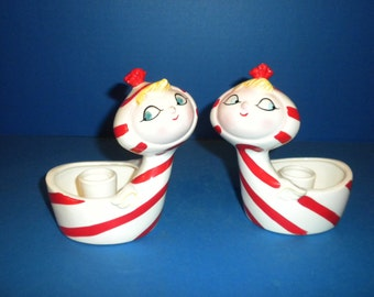 Holt Howard Pixie Candle Holders - Set of Two