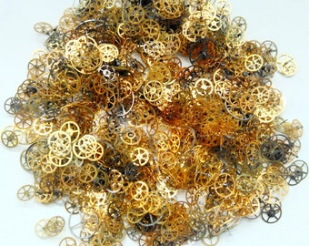 30g Steampunk Watch Gears Cogs Wheels Real Vintage Watch Parts Lot Industrial Altered Art Deco Craft Supply
