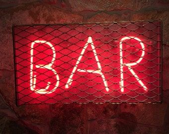 Bar Print - Signboard Bar - Bar Photography - Red Color - Red Wall Decor - Urban Print - Digital Photo - Digital Download - Instant Download
