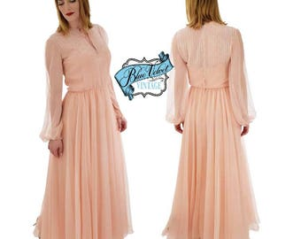 "70s Blush Pink Chiffon Gown-1970s Victoria Royal Beaded Dress--Wedding-Bridesmaid-Formal-MOB-Long Sleeved-Full-Skirt-Med-29"" Waist"