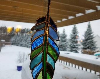 Feather stained glass  12 inches beautiful sun catcher