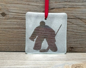Hockey Goalie Fused Glass Ornament/Sun Catcher; Christmas Ornament; Hockey