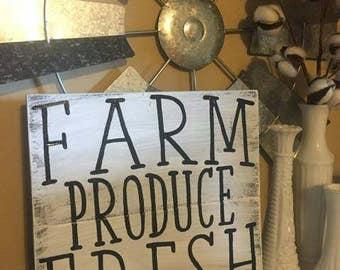 Farm fresh produce distressed Wood Sign
