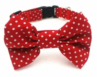 Spotted Dog Collar, Bright Dog Collar, Red Dog Collar, Personalized Collar, Dog Collar, Dog Bow Tie Collar, Dog Bow Tie, Bright Wedding