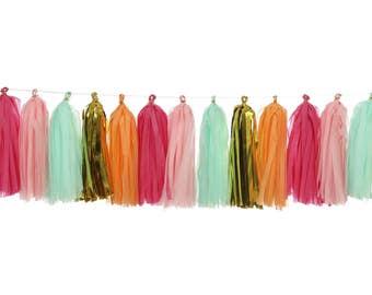 Pink + Mint + Hot Pink + Metallic Gold + Orange   Tassel Garland   Metallic Tissue Tassel Garland   FOLI + LO