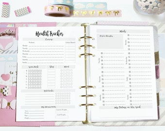 A5 Weekly Health Fitness Habit Tracker Planner Printable Inserts - Filofax A5 or  Kikki K Large
