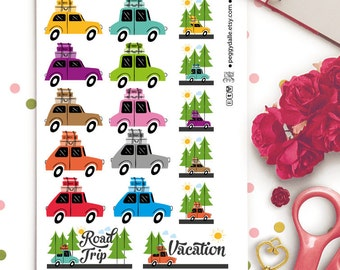 Retro Road Trip Planner Stickers | Cars | Day Off | Road Trip | Hiking | Vacation | Holidays
