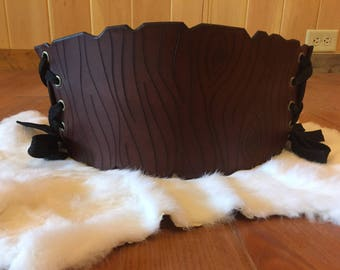 "Brown Leather Waist Cincher / Corset Belt ""Dryad"""