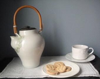Vintage white Asian teapot