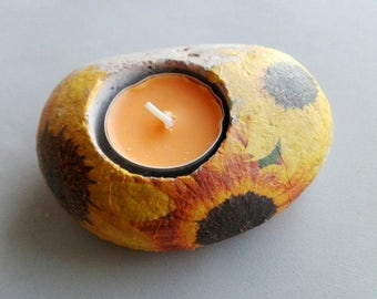 Stone with decoupage of SUNFLOWERS decoration candle holder