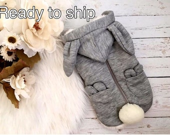 Bunny- Dog Clothes, Dog sweater, Pupppy Clothes, Puppy sweater, Bunny ears sweater