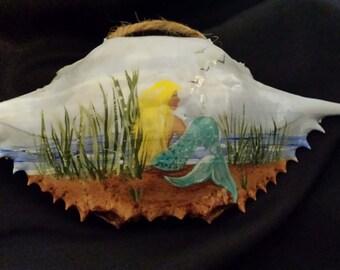 Hand Painted Crab Shell w/ Mermaid