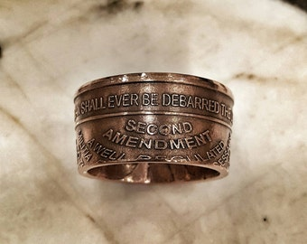 2nd Amendment Ring - Second Amendment - Gun Rights - Constitution - 2A - Hand Forged .999 Pure Copper Coin Ring