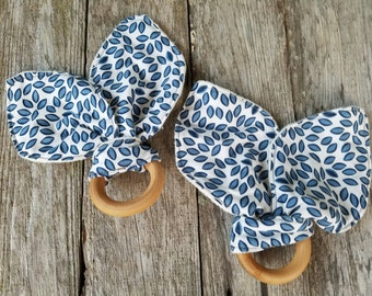 Organic Bunny Ear Teether - Single in Blue and White