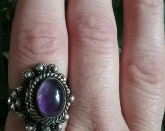Stunning vintage amethyst Taxco poison ring signed