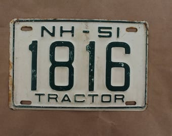 1951 New Hampshire Tractor  License Plate