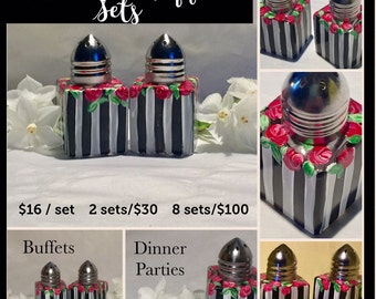 Mini Salt & Pepper Set - Roses - Black and White Stripes - Hand Painted