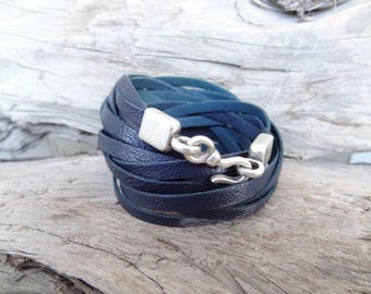 EXPRESS SHIPPING,Wrap Genuine Leather Bracelet,Navy Blue Braided Leather Bracelet,Multi-strand Cuff,Bangle Bracelet,Mother's Day Gifts