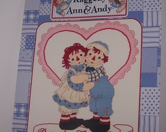 Raggedy Ann and Andy Hugs and Kisses Counted Cross Stitch Pattern Chart Designs By Gloria & Pat RA-109 January I-2002