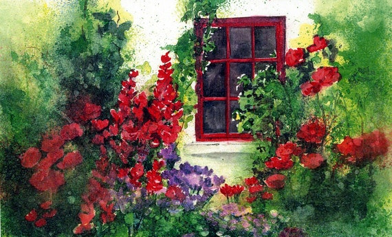 Garden Window - signed print - watercolor - Bonnie White - floral art - garden art - wall art