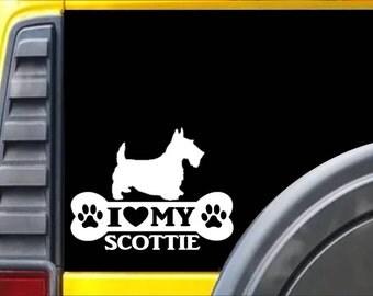 Scottish Terrier Bone Sticker L056 inch scotty scottie dog decal