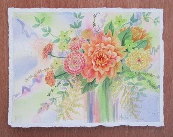 Original Watercolor painting of Dahlia bouquet 10x14