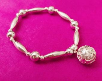 Sterling Silver Harmony Ball Chunky Charm Bracelet