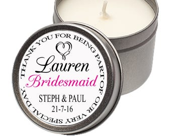 Personalised Candle Tin Wedding Favour Bridesmaid Thank you Gift Present Marriage Bride Groom