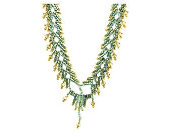 Vintage 1920s Necklace | Art Deco Necklace | Beaded Necklace | Green Necklace | 1920s Art Deco | 1920s Necklace | Statment Necklace