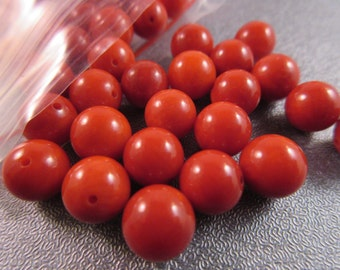 Red Bamboo Coral Round 8mm Beads 49pcs