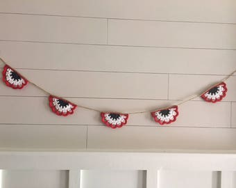 Crocheted lace garland, bunting, vintage home decor, farmhouse, bunting, banner, home decor, Fourth of July, patriotic, red, white, blue