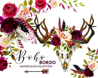 Boho Bordo Watercolor Clipart Burgundy White Red Flowers Deer Scull Horns Antlers Wedding Clipart Floral Bouquets Wreaths Sprays PNG flowers