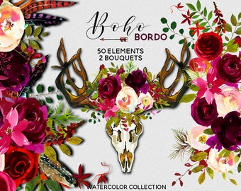 Boho Bordo Watercolor Clipart Burgundy White Red Flowers Feathers Deer Scull Horns Antlers Wedding Clipart Floral Bouquets Sprays PNG
