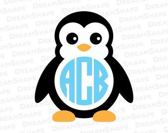 Cute Penguin SVG Files, Penguin Monogram SVG Cutting Files, Animal Svg Penguin SVG Files, Penguin Cuttable File for Cricut, Instant Download