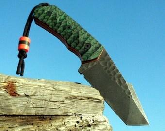 Bushcraft forged knife.  Carbon steel 65G handmade knife with a leather sheath. Custom knife.