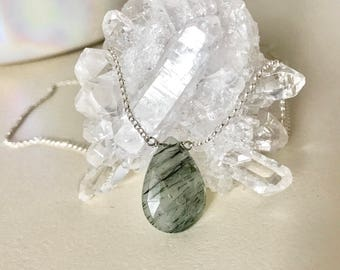 Green Tourmalated Quartz Sterling Silver Necklace
