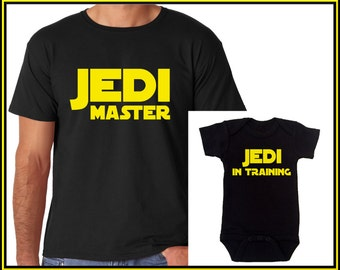 Father & Son Shirts Star Wars Jedi Master and Jedi In Training Funny T-shirt and Funny Onesie Dad and Son Matching Outfit