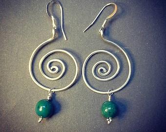 Sterling Silver & Chrysoprase Earrings