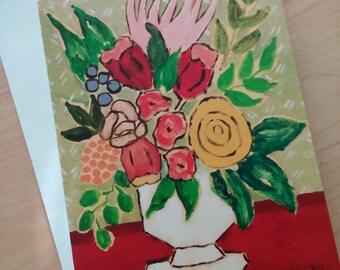 4 Original greeting cards Four 5x7 Floral greeting cards Folk Art 5x7 Greeeting cards from paintings