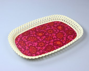 Vintage tray, serving tray, EMSA plastic red pink, retro 70's