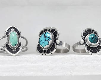 LaoOne * Sterling Silver Rings * with Turquoise Stones