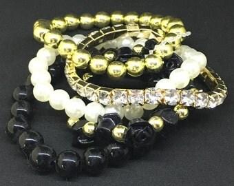 Mix Flower Beads Stretch Bracelet Temperament Alloy Resin Rhinestone Bangle