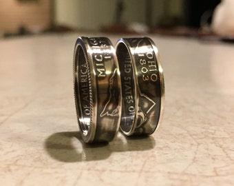 Silver state coin rings