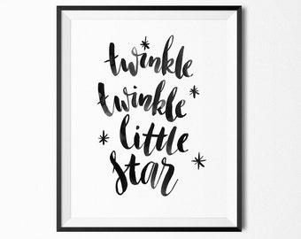 Twinkle twinkle little star print, baby room art, nursery decor, baby shower gift, printable wall art, digital instant download